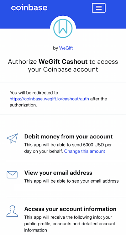 wegift coinbase buy gift cards with crypto example authorize